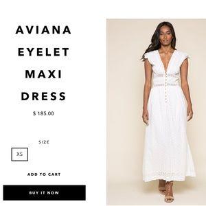 Anthro Raga Aviana Eyelet Maxi Dress White XS NWT